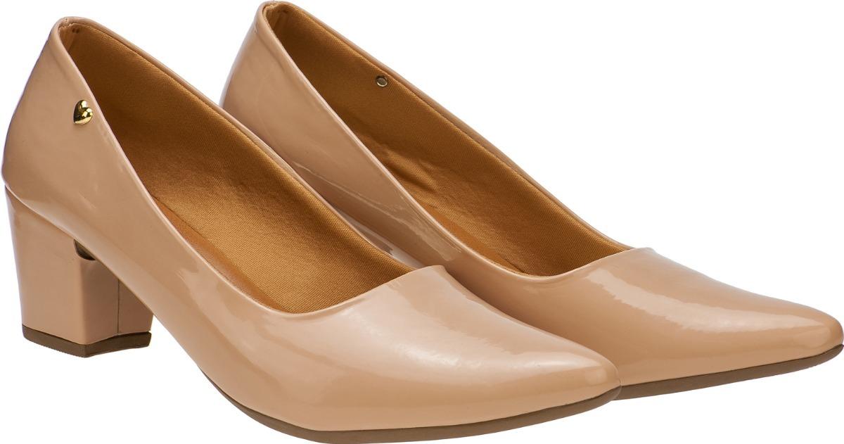 72cc8de9cf Sapato Feminino Scarpin Salto Baixo Grosso Nude