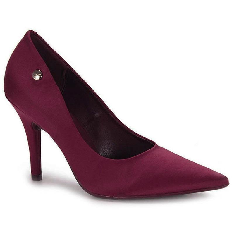 b229eb0fbe sapato feminino scarpin vizzano salto fino cor vinho. Carregando zoom.
