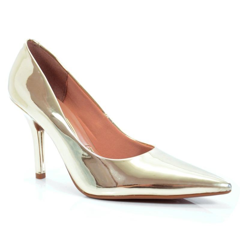 8bad43569c sapato feminino scarpin vizzano salto médio 1184113 dourado. Carregando zoom .