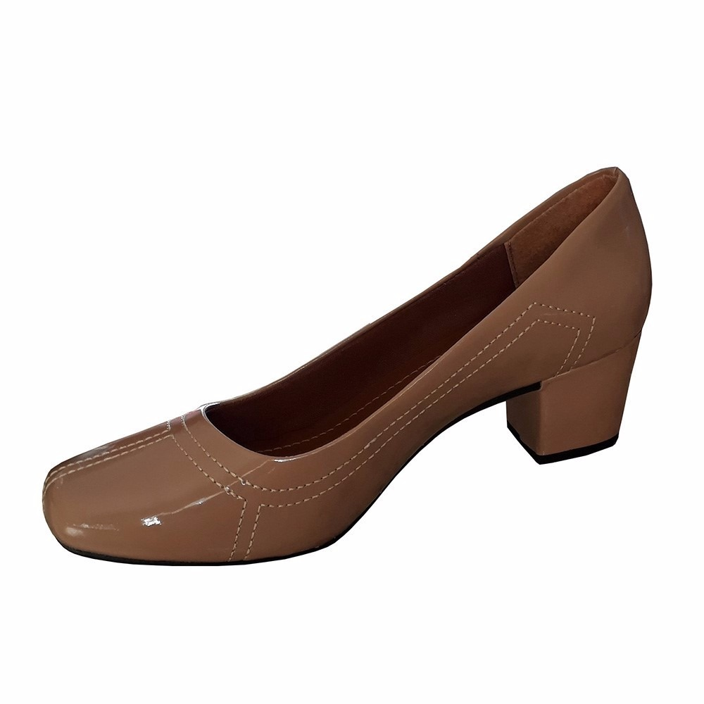 f5bd4d0994 sapato feminino social nude verniz salto baixo grosso. Carregando zoom.