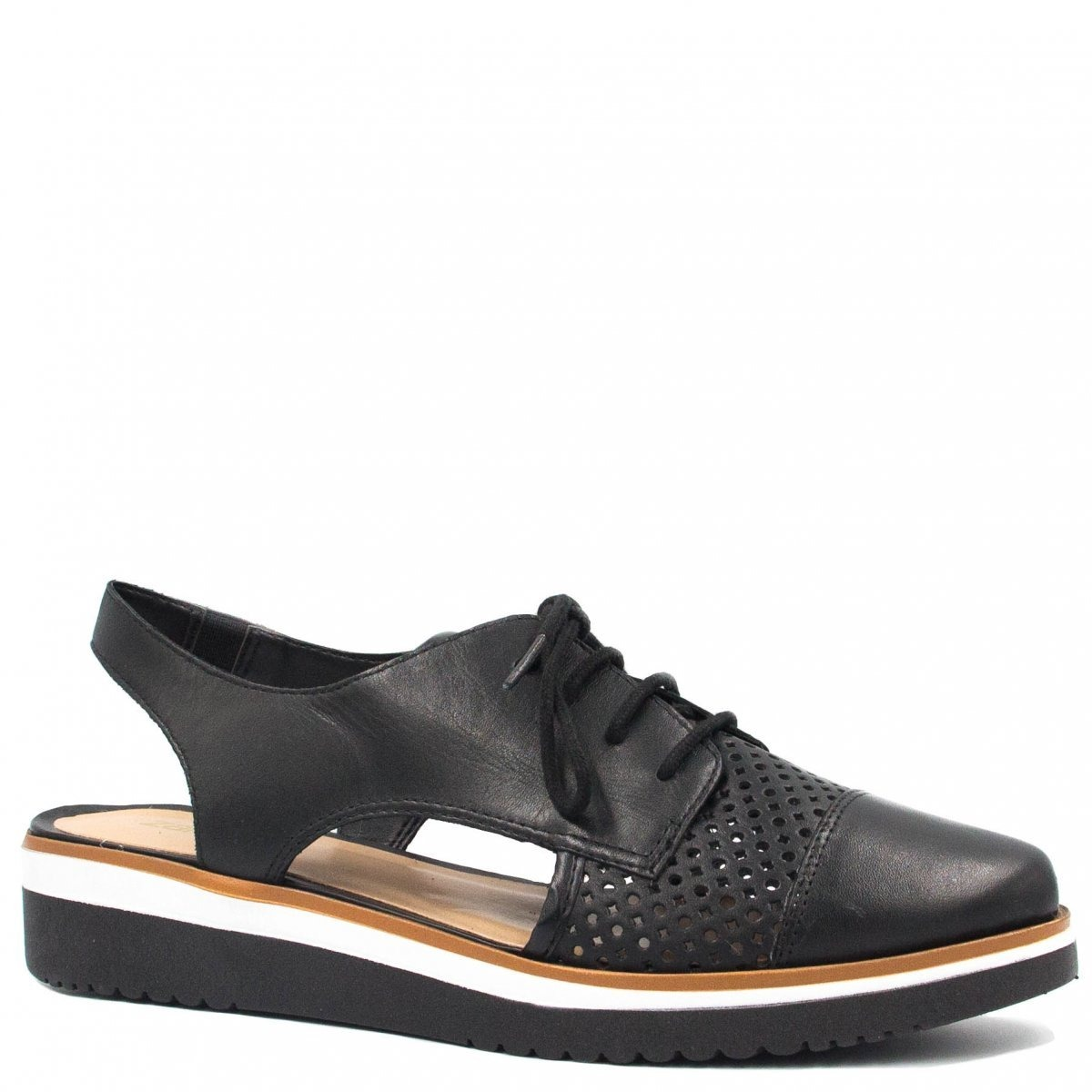 8bc7ce3598 Sapato Feminino Zariff Shoes Oxford Vazado Preto 20537a - R  184