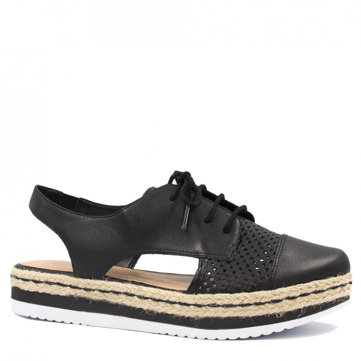 14bed14917 Sapato Feminino Zariff Shoes Oxford Vazado Preto 25224 - R  184