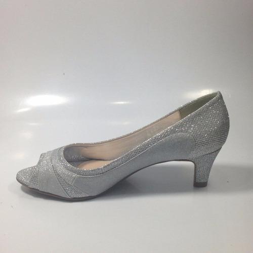 sapato festa peep toe salto baixo prata/ouro lushoes (47086)