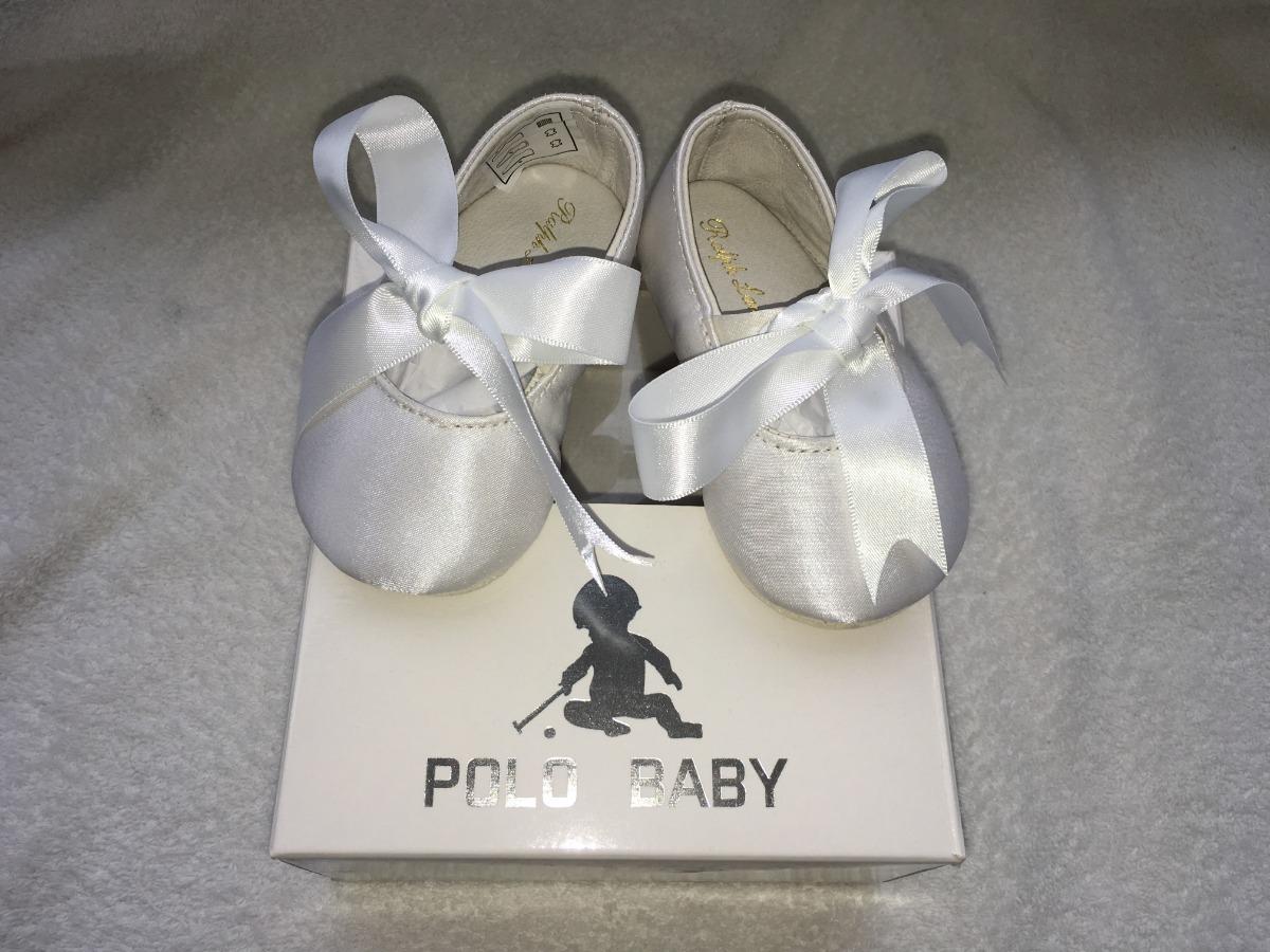 4047c84610 sapato infantil bebê polo ralph lauren branco com fita cetim. Carregando  zoom.