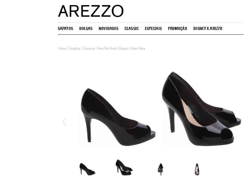3cec559ac Sapato Marca Arezzo Nº 35 - Peep Toe Verniz Preto - R  100