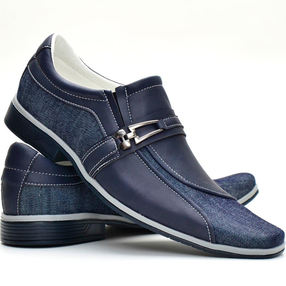 5e983b205e sapato masculino casual social azul jeans lançamento. Carregando zoom.