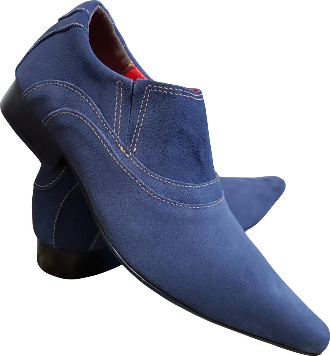 1b3929f9cb Sapato Masculino Em Couro Azul Camurça Ref  668 - R  289