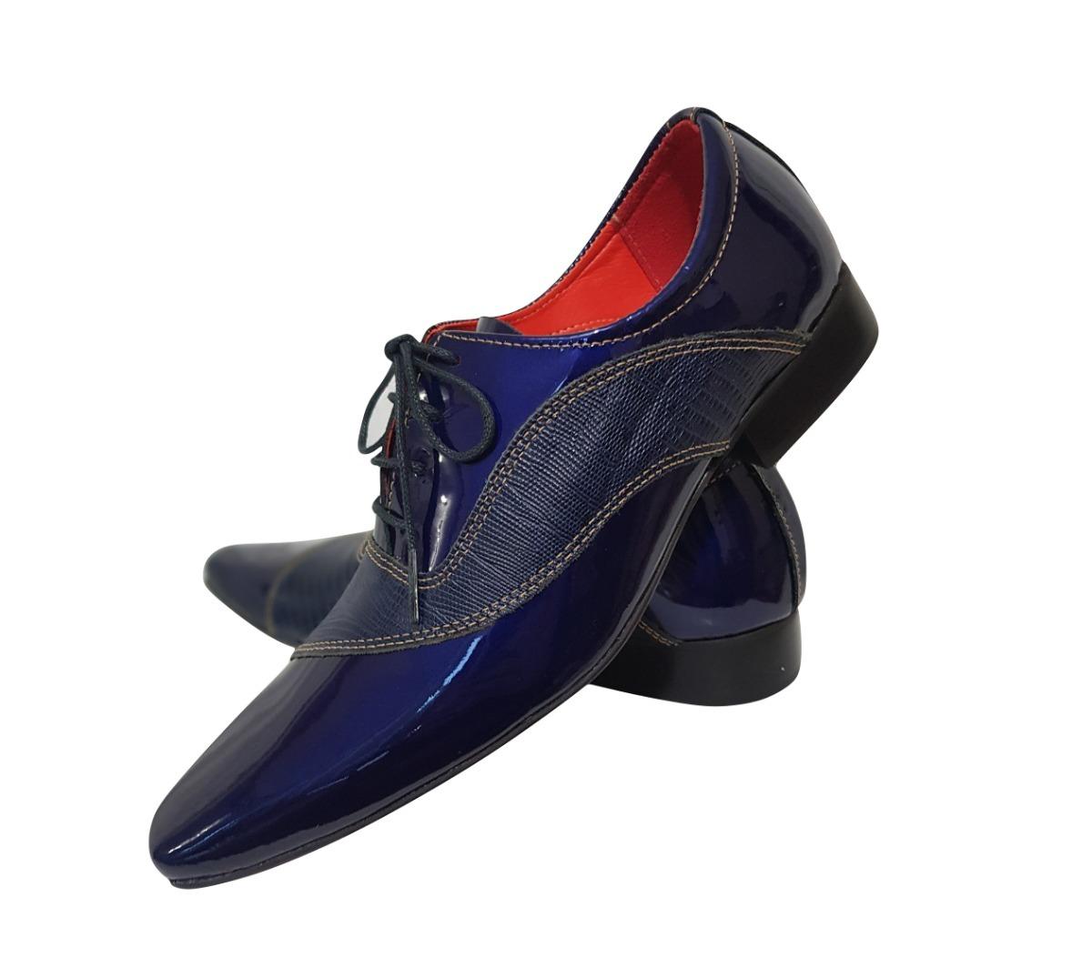 be3b503eb0 Sapato Masculino Em Couro Azul Verniz Ref  689 - R  289