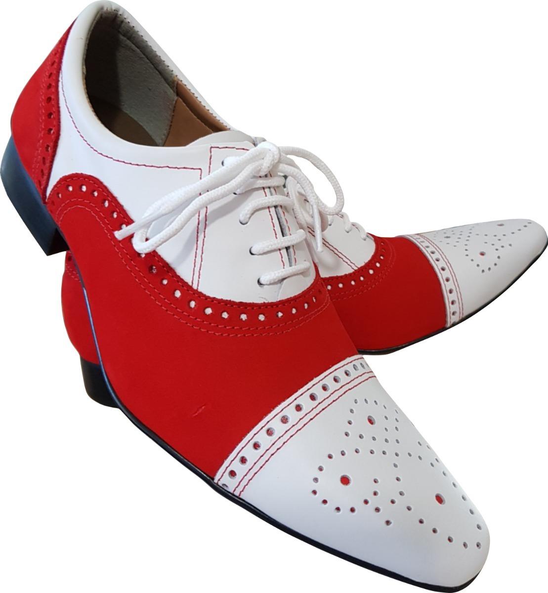 2bfcab8849 Sapato Masculino Em Couro Branco E Camurca Vermelho Ref  650 - R ...