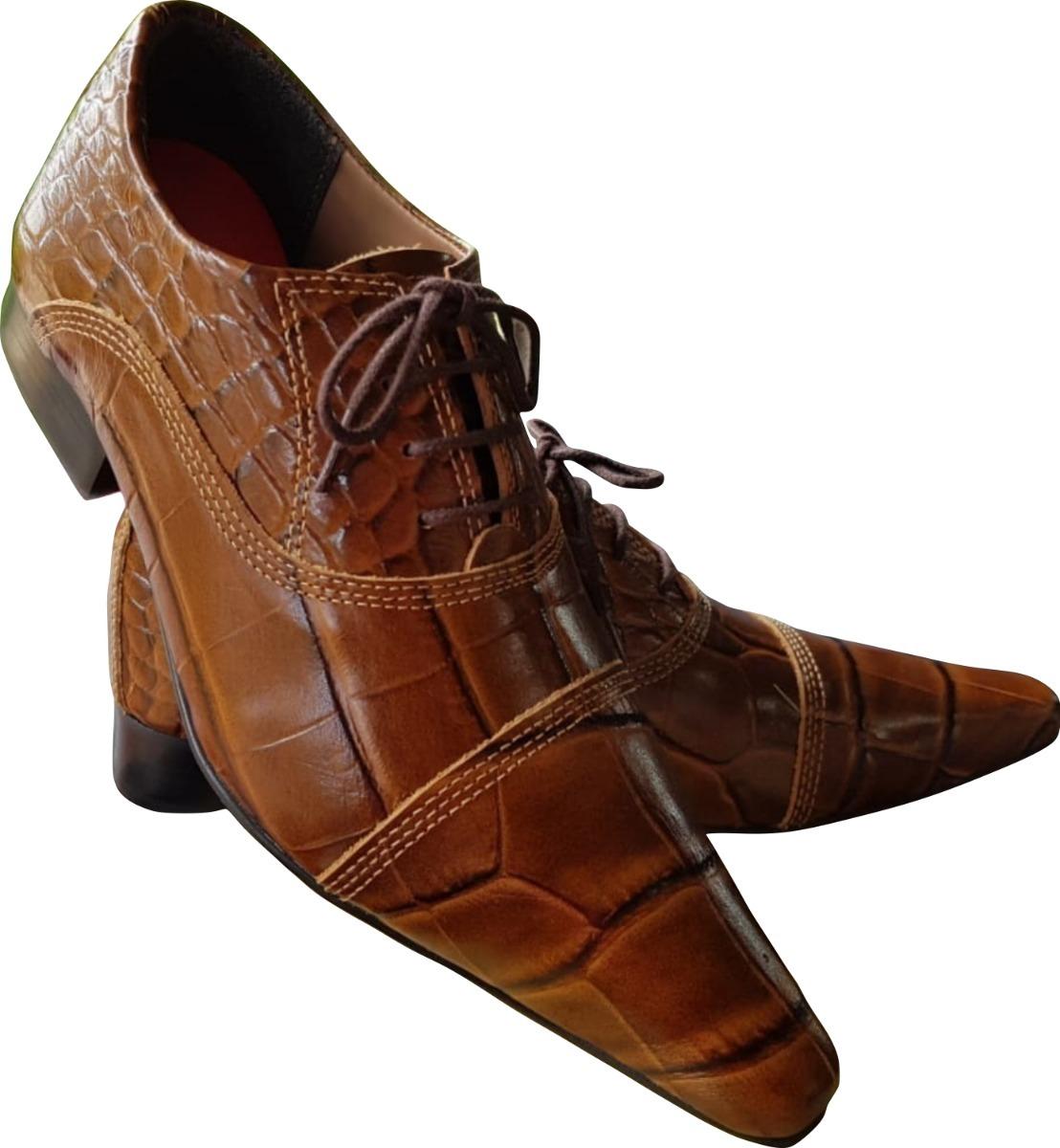 2b2d444d7 Sapato Masculino Em Couro De Jacare Marrom Ref: 644 - R$ 289,90 em ...