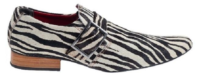 65fd76d98 Sapato Masculino Em Couro Em Pelo De Zebra Ref  82 - R  289