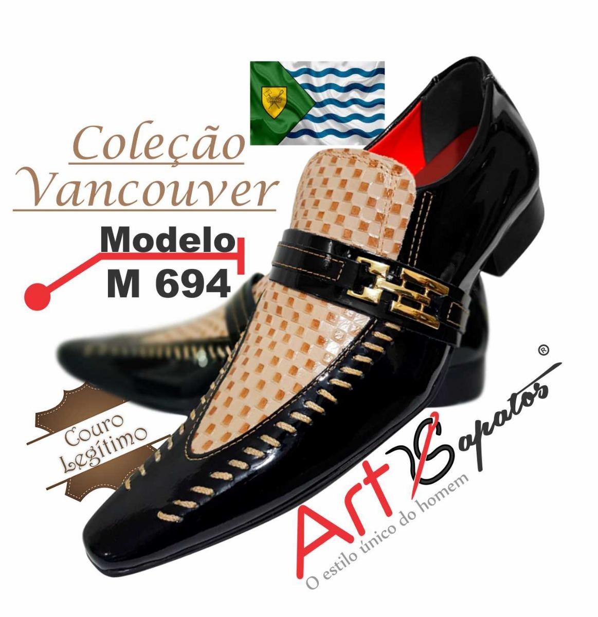 c26025821f Sapato Masculino Em Couro Preto C  Tricê Marrom Ref  694 - R  289