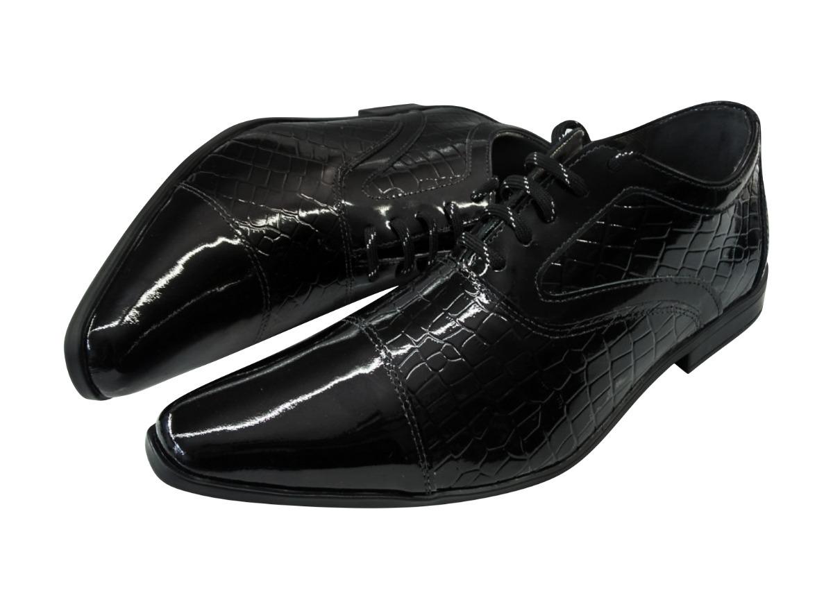 c09dd68304 sapato masculino em couro preto envernizado ref  209. Carregando zoom.