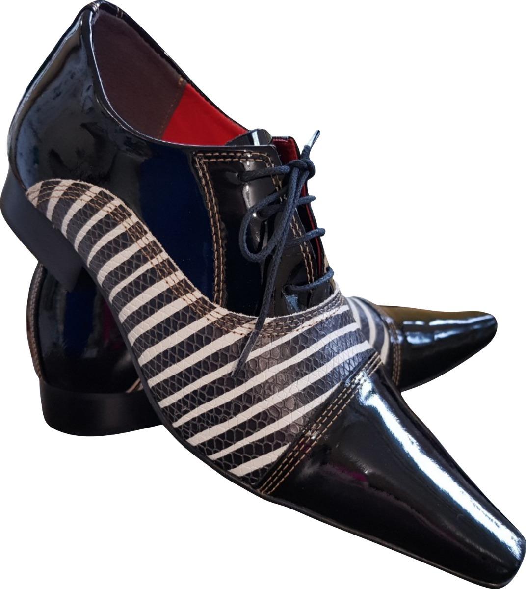 9658e976d6 Sapato Masculino Em Couro Preto Verniz Com Zebra Ref  654 - R  289 ...