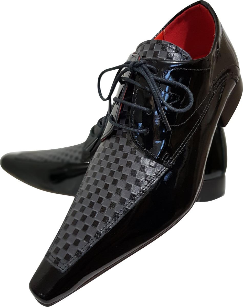 a9a10a2790 Sapato Masculino Em Couro Preto Verniz E Xadrez Ref  714 - R  289