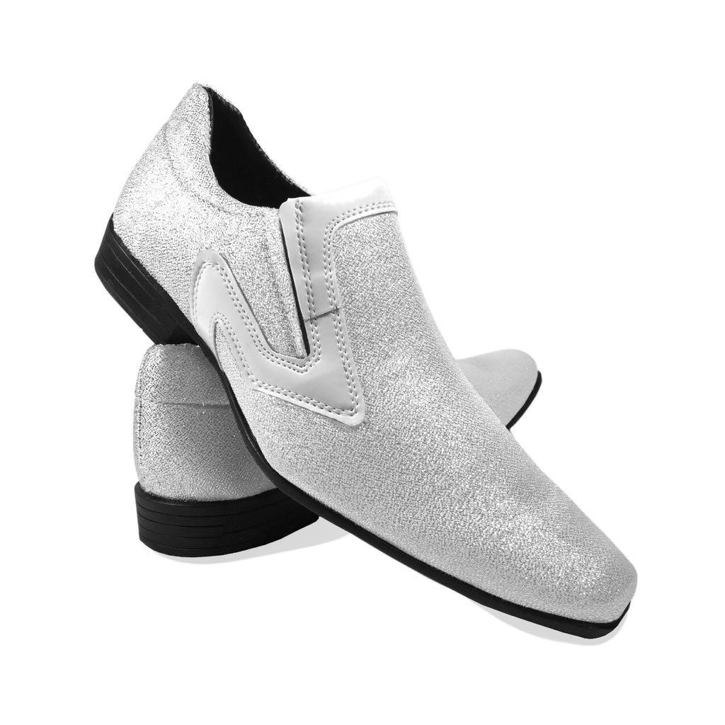 00aa9f0bd sapato masculino social brilhoso branco cinza bico fino. Carregando zoom.