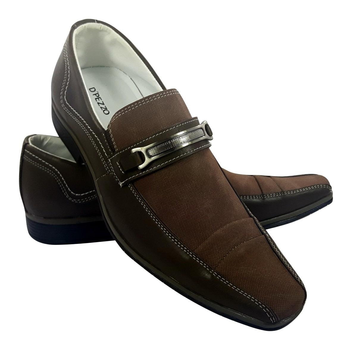 fb073bdc2 Sapato Masculino Social Elegante Couro E Tecido - R$ 65,00 em ...