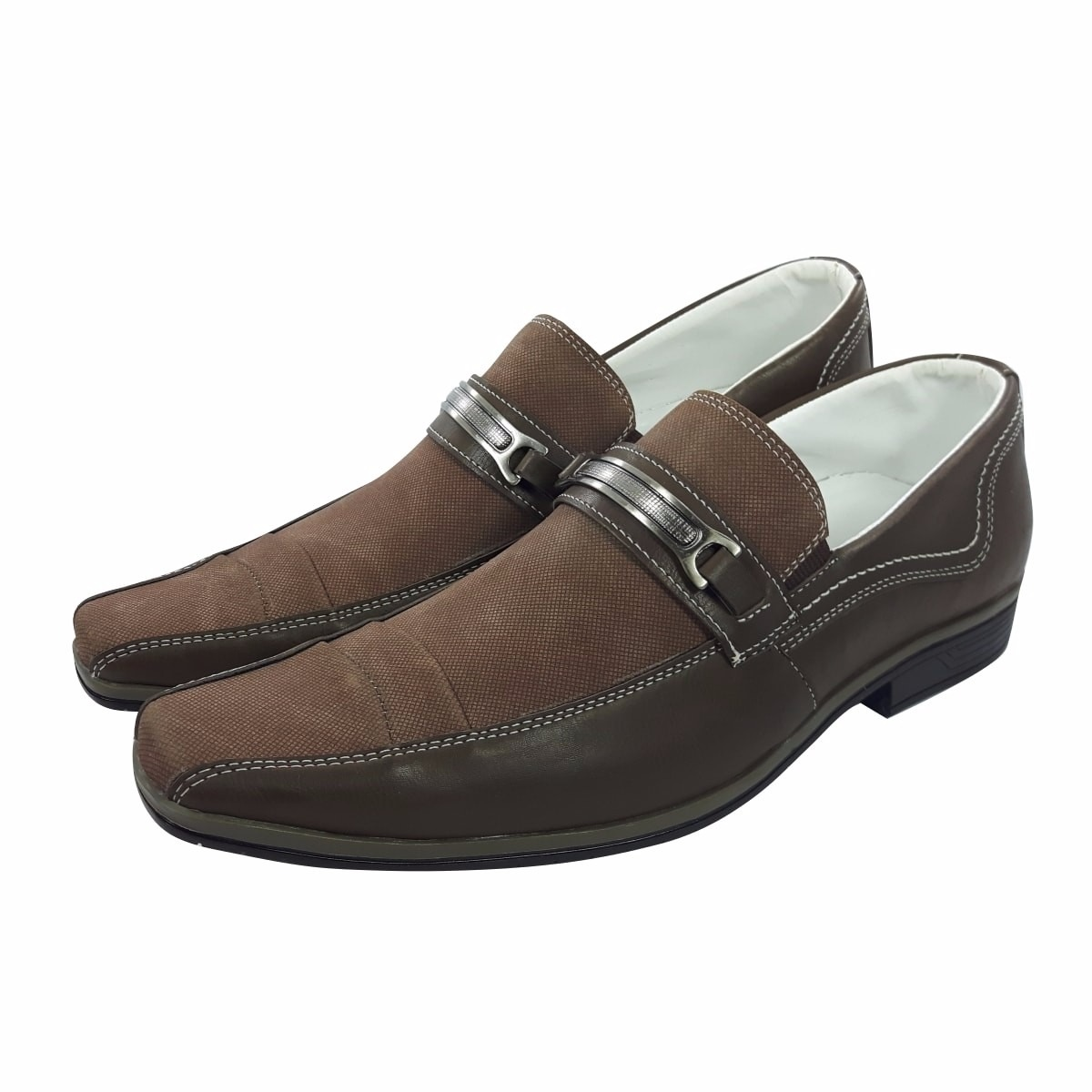 8d18198d5 sapato masculino social elegante couro e tecido. 6 Fotos