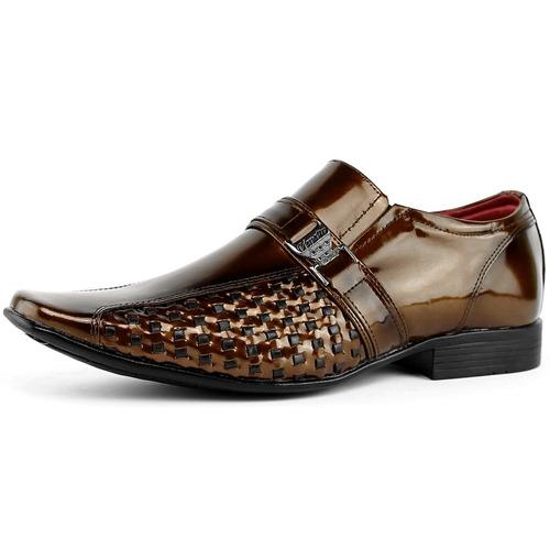 sapato masculino social envernizado kit cinto + carteira dhl