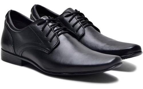 sapato masculino social preto com cadarço couro legitimo