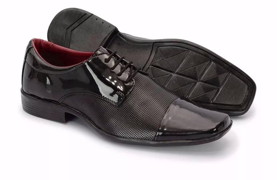 d2e3d83daa Sapato Masculino Social Preto Luxo Verniz Brilhoso - R$ 39,49 em Mercado  Livre