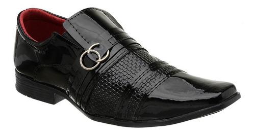 sapato masculino social verniz di stefani + carteira cinto