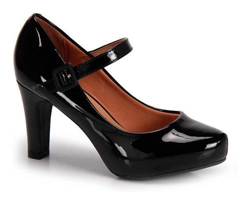 sapato meia pata boneca vizzano verniz preto