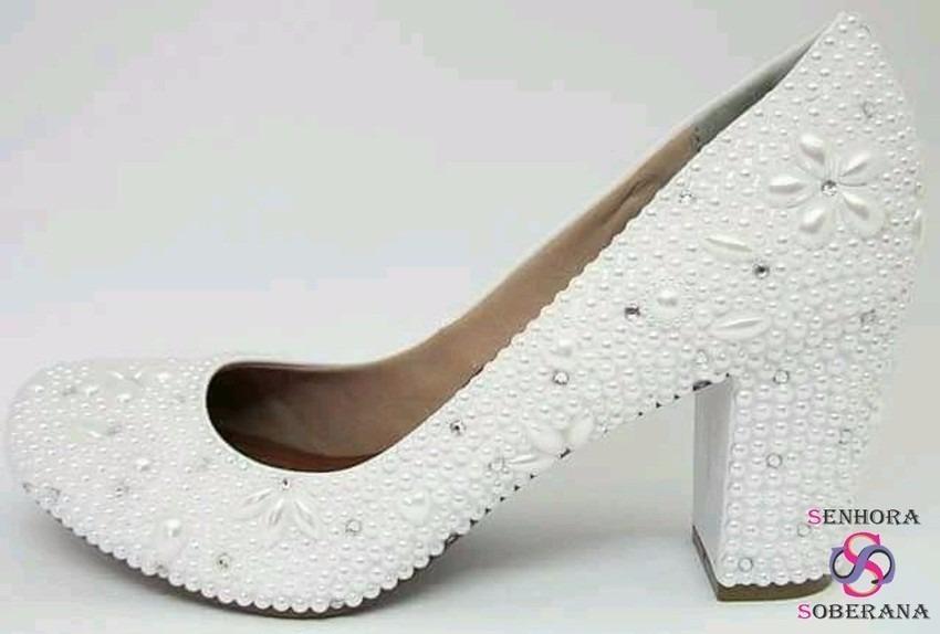 04f4cf891 sapato meia pata (salto grosso) branco perolado (noivas). Carregando zoom.