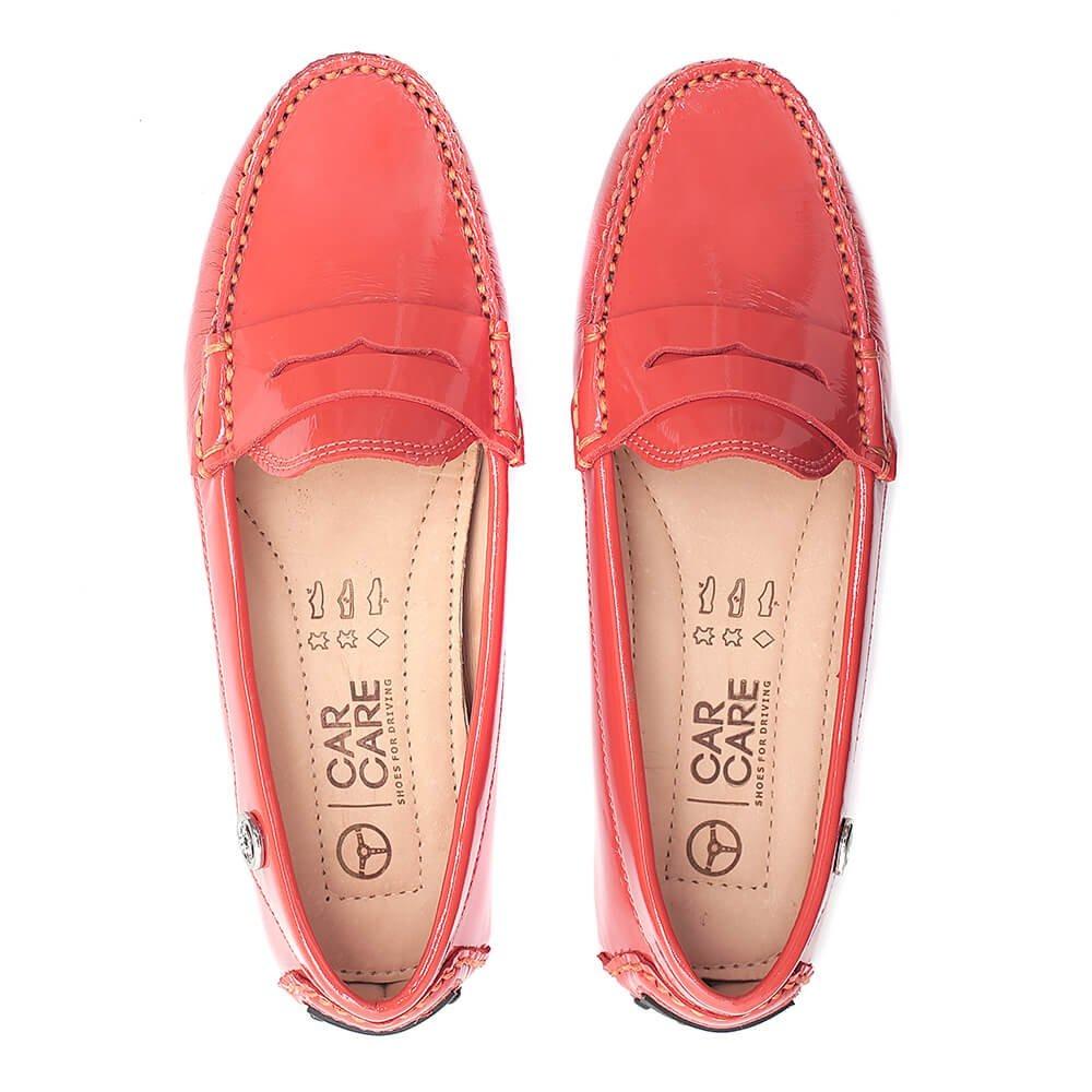 7d36487f2 sapato mocassim feminino car care couro verniz laranja. Carregando zoom.
