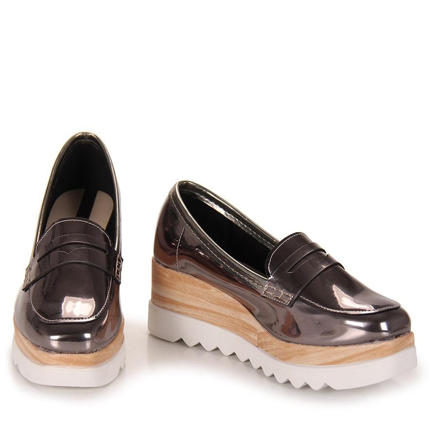6747176f22 sapato mocassim feminino moleca - prata velho. Carregando zoom.