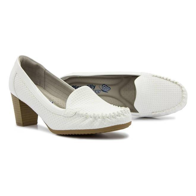 1ee70baec Sapato Mocassim Feminino Piccadilly Com Salto Branco - R$ 169,90 em ...