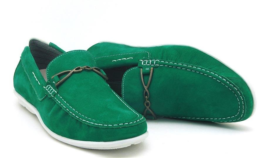 80b4f77715 sapato mocassim masculino 571 em couro verde. Carregando zoom.