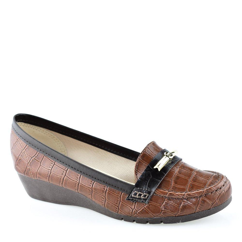 73980a46a5 sapato mocassim moleca salto anabela baixo feminino 5156448. Carregando  zoom.