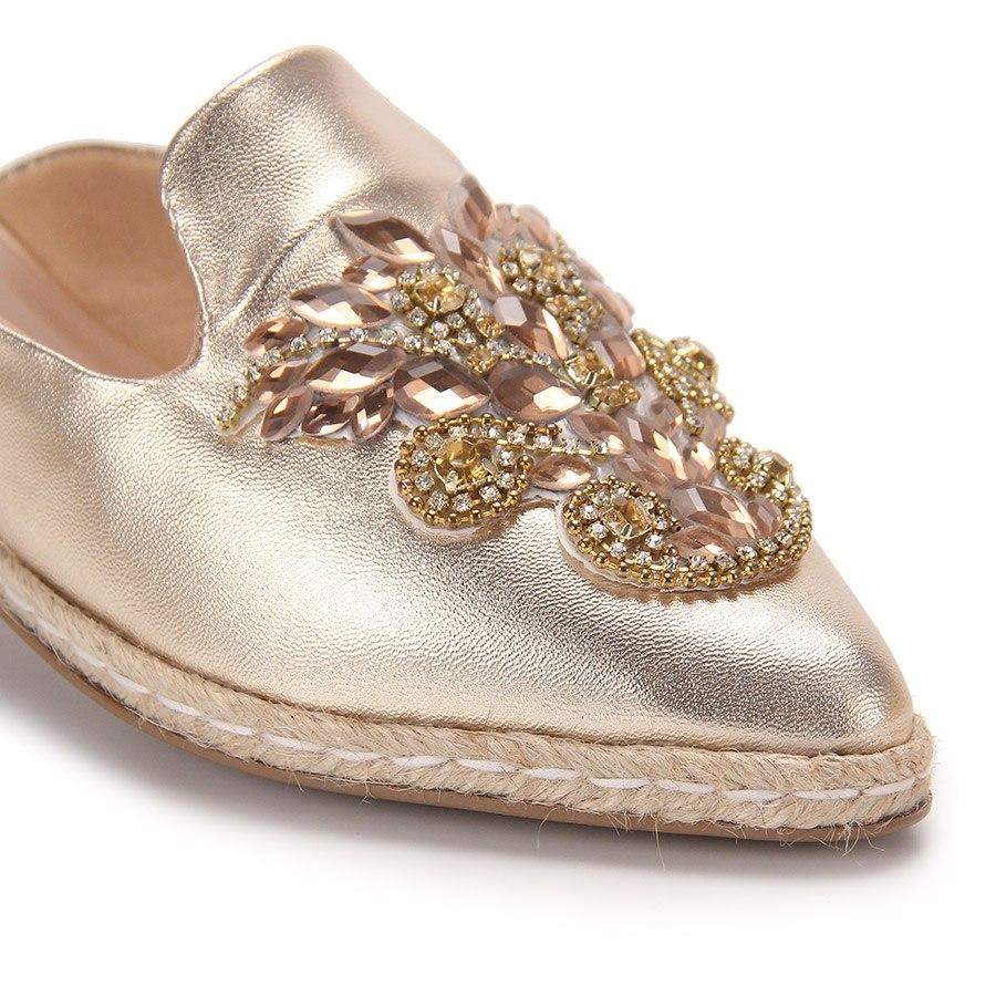 7c45686b9b sapato mocassim mule feminino brenda lee - dourado(a). Carregando zoom.