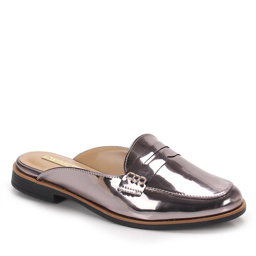 47178584b sapato mocassim mule feminino brenda lee - prata velho. Carregando zoom.