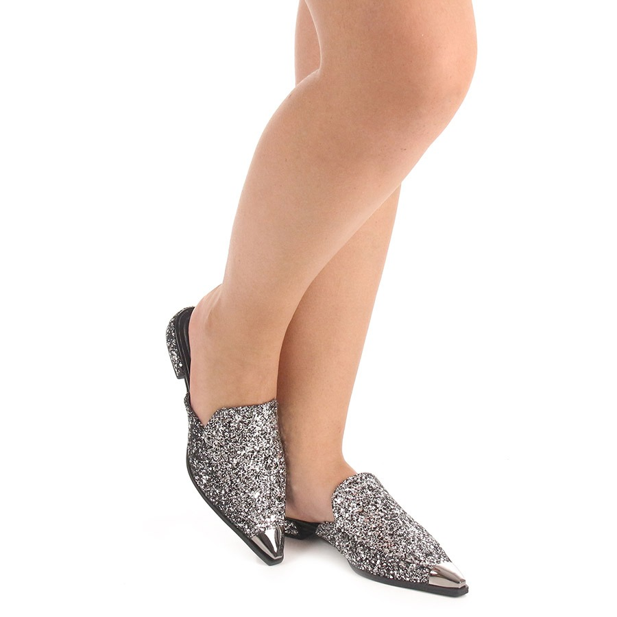 bb6ef92e9a sapato mocassim mule feminino lara - prata. Carregando zoom.