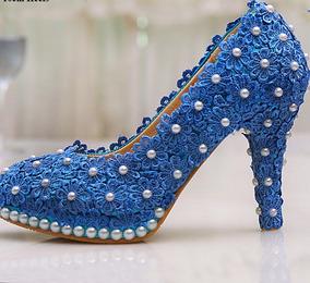 c9f10f346 Sapato Debutante Azul Renda no Mercado Livre Brasil