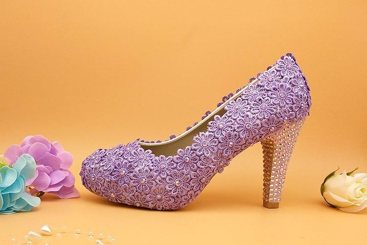 9e924b458 Sapato Noiva Debutante Lilás Personalizado Renda Madrinha - R$ 320 ...