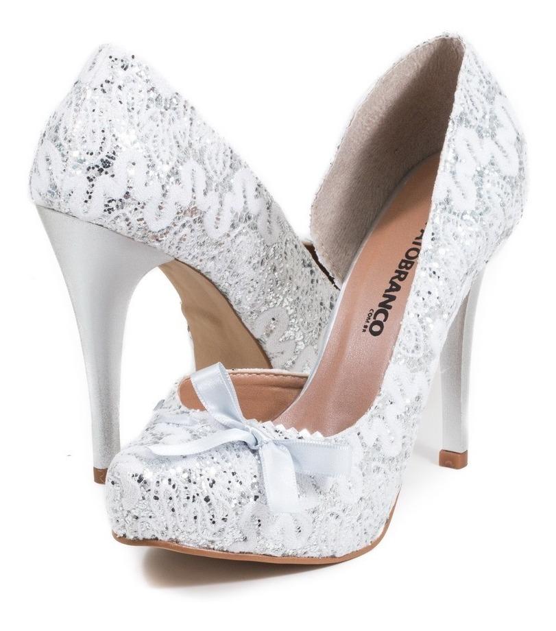 515e65ee5d sapato noiva festa branco prata glitter renda festa salto 10. Carregando  zoom.