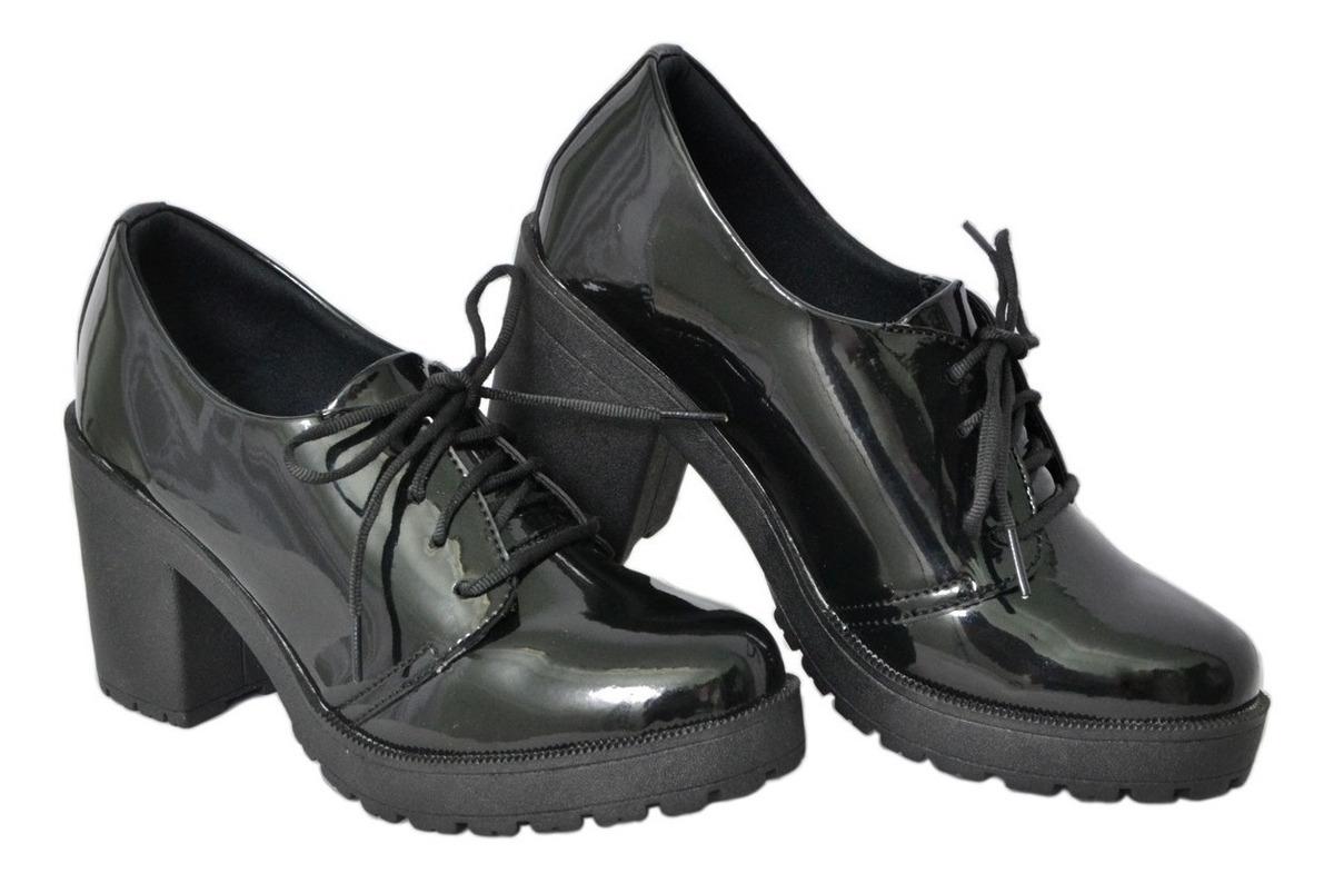 910c4c7cf sapato oxford botinha feminino verniz cano baixo de amarrar. Carregando zoom .