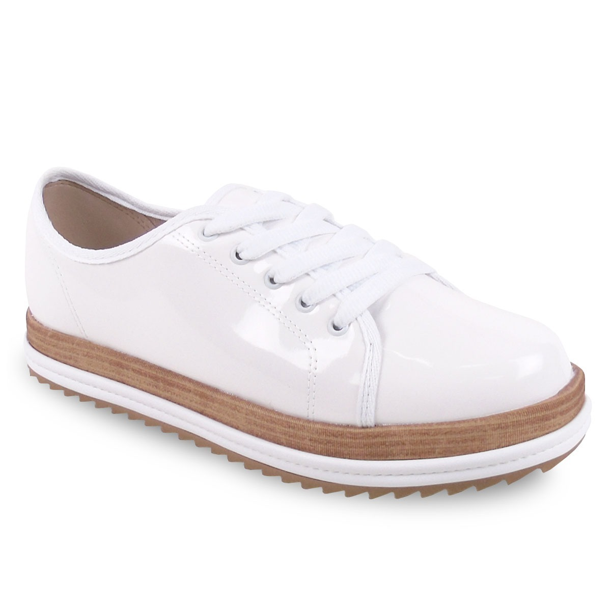 afbe8d3a4 sapato oxford feminino beira rio tratorado verniz branco. Carregando zoom.