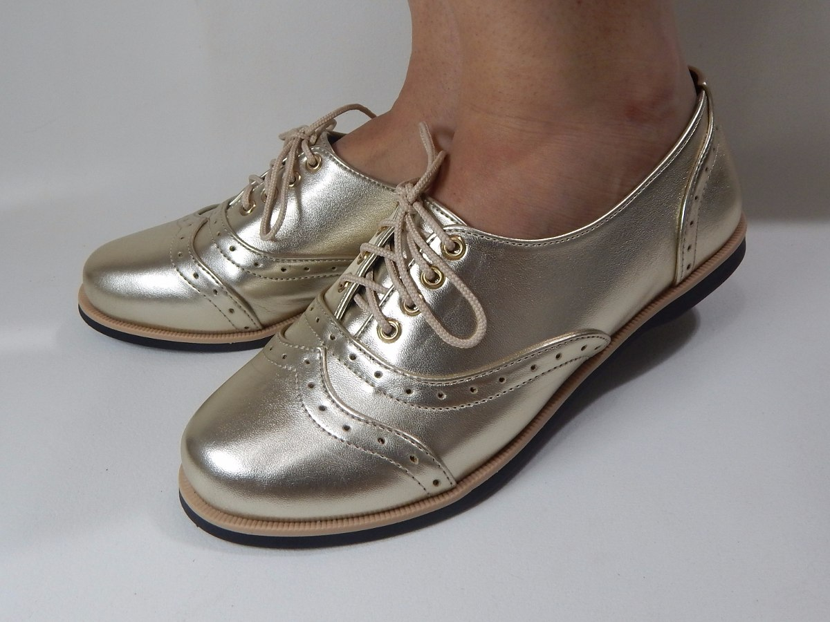 a4386e6aa6 sapato oxford feminino dorado metalizado. Carregando zoom.