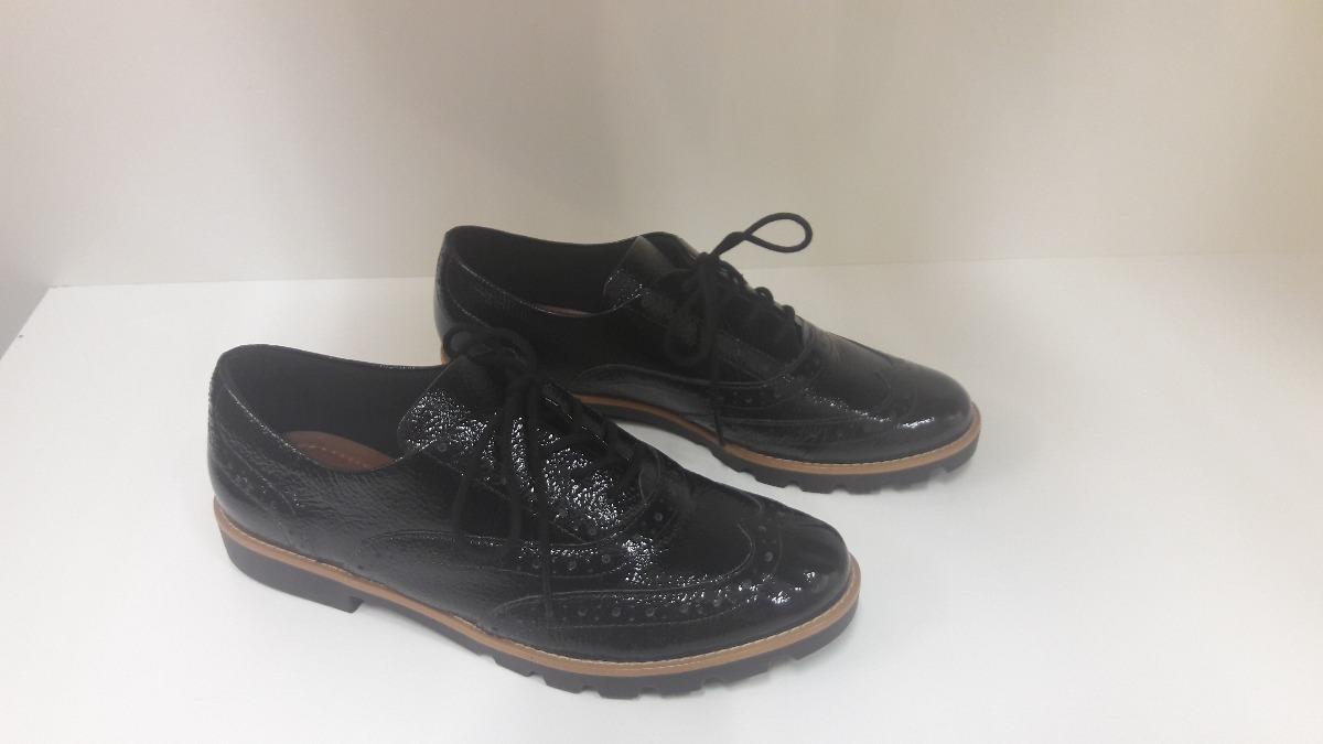 b2478f1d9 Sapato Oxford Feminino Usaflex Em Couro Verniz Preto - R$ 279,90 em ...