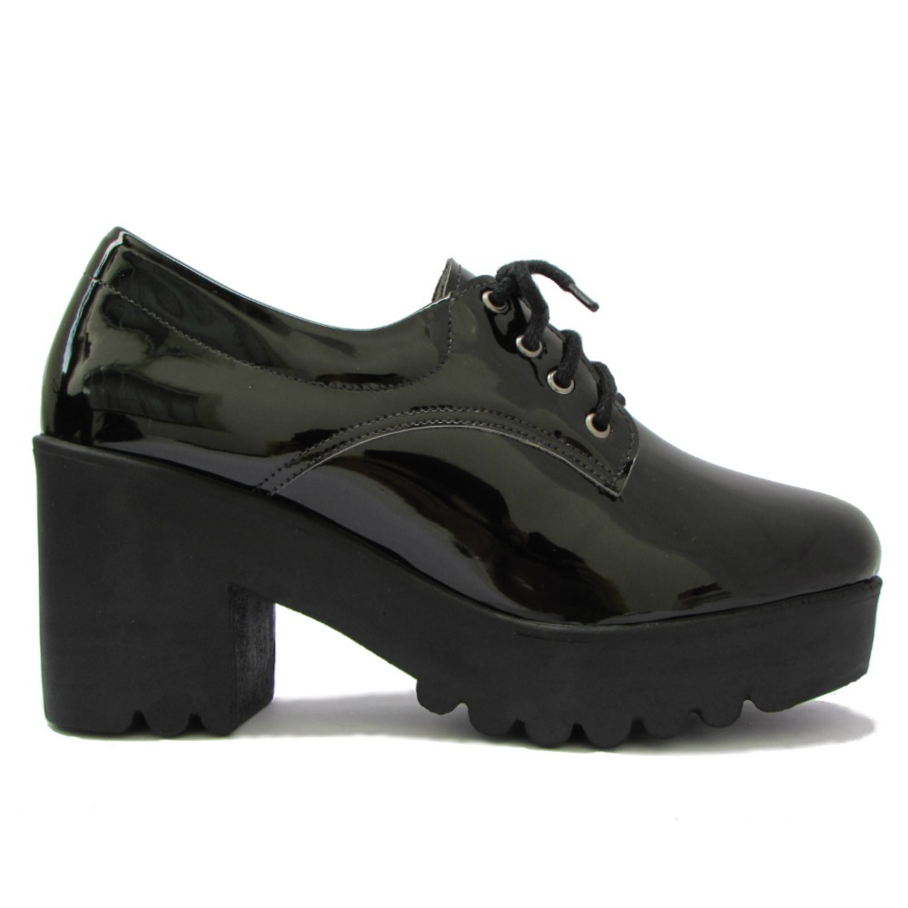 1a5e5679e sapato oxford feminino verniz salto alto grosso tratorada. Carregando zoom.