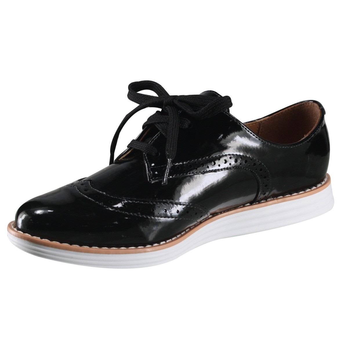 b68c174a45 sapato oxford feminino vizzano verniz preto 1231.101. Carregando zoom.