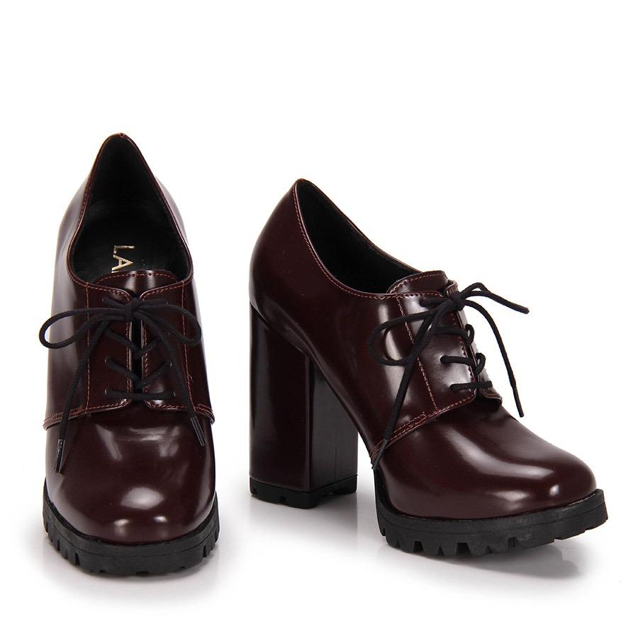 ed40eccc7e9dc Sapato Oxford Salto Grosso Lara Tratorado - Vinho - R$ 149,99 em ...