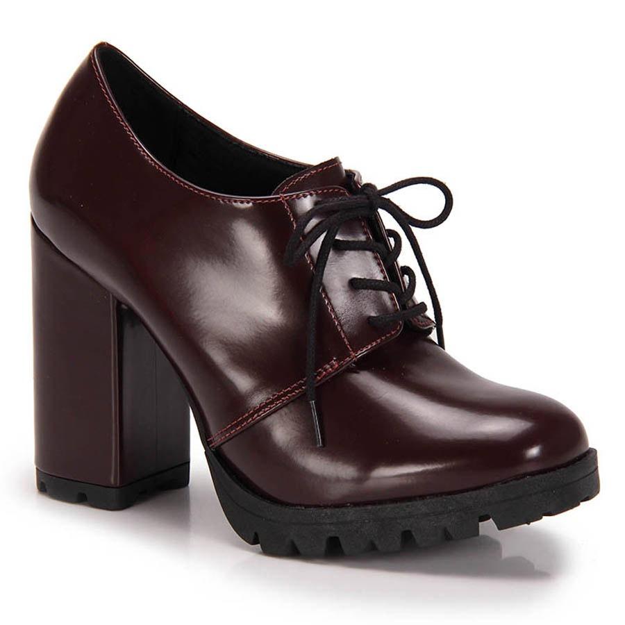 a85eb5b01 Sapato Oxford Salto Grosso Lara Tratorado - Vinho - R  149