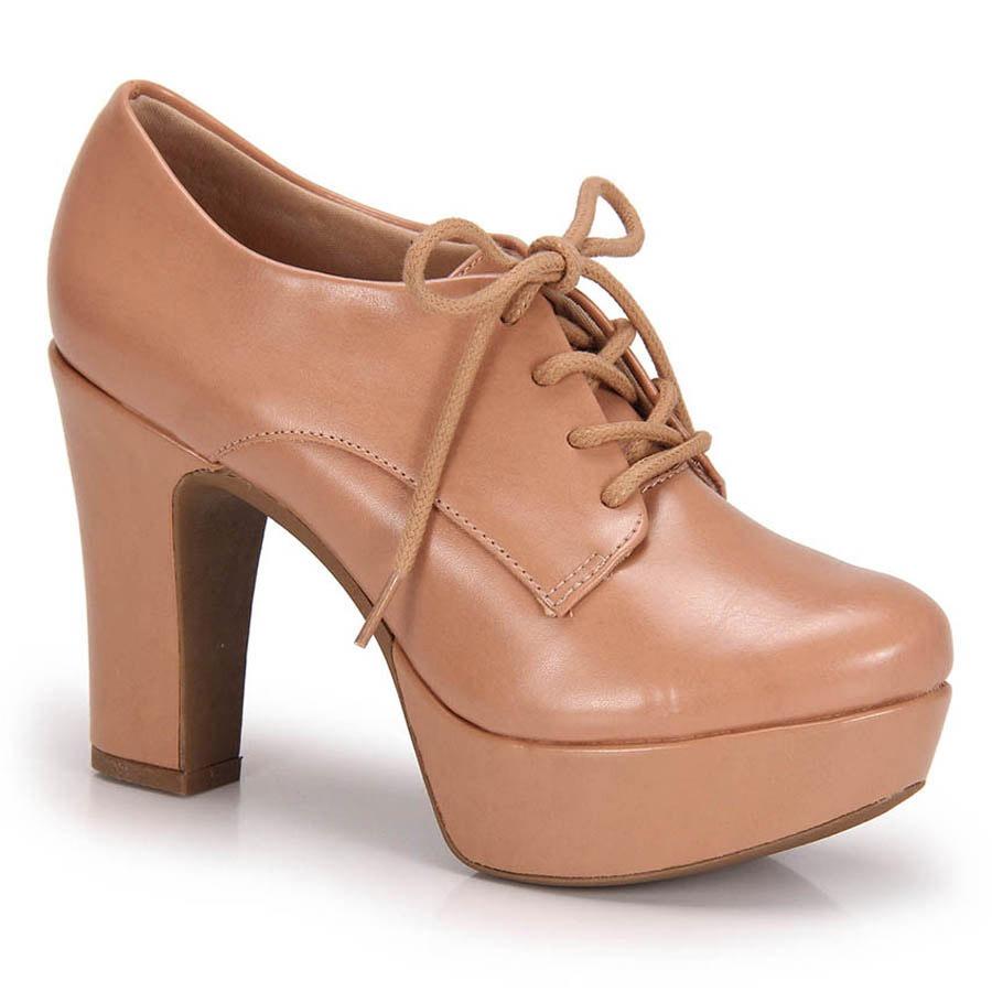 d6f0bc74c8784 Sapato Oxford Salto Grosso Lara Verniz - Bege - R$ 79,99 em Mercado ...