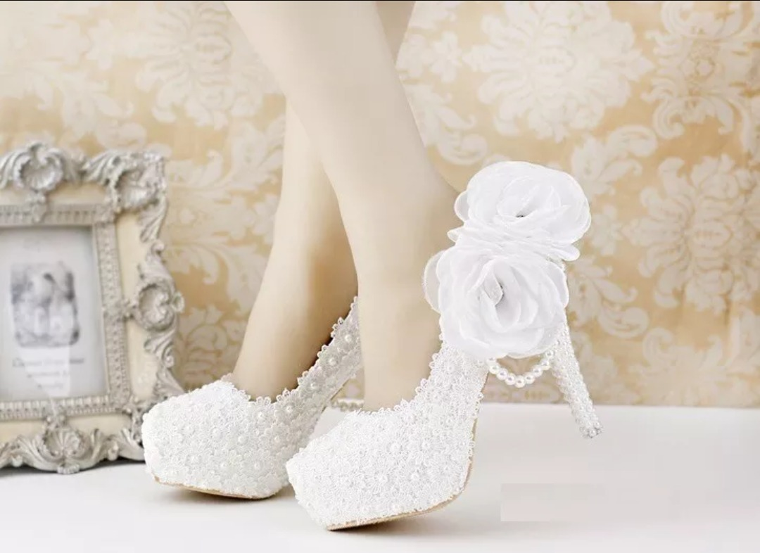 f147ac9d0 Sapato Para Noiva Lindo Luxo Personalizado Flores De Guipi 0 - R ...