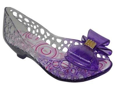 edb17d8643 Sapato Peep Sapatilha Infantil Estilo Melissa Gliter Roxo - R  19
